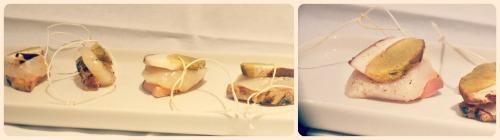 Bouchées de coquilles St Jacques au foie gras et cèpes à la ficelle