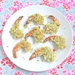 crevettes au riz vert croustillant
